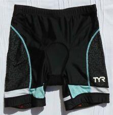 TYR Sport Women's Black Aqua Competitor 6 Inch Padded Tri Cycling Shorts USA M
