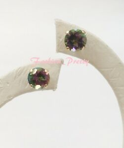 2 3/4 Carat Mystic Topaz Stud Earrings In 14K Yellow Gold Over Sterling Silver