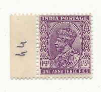 INDIA SG235 1932 1a3p Purple KGV GB MARGINAL MNH