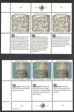 UNITED NATIONS , 2 INSCRIPTION BLOCK OF 3 , GENEVA , 1990 ,  PERF , MNH