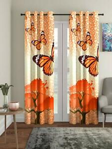 New 2 Piece Eyelet Long Door Curtain Set - 9 feet Orange