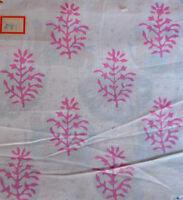 Indian Pure Cotton 3 Yard Fabric Hand Block Print Sanganeri Loose Craft Running