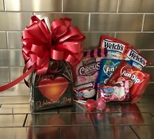 Kids Happy Valentine's Day Gift Basket-Box Candy & Cookies and a Red Bow