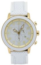 Citizen Eco-Drive Unisex AT2232-08A Chronograph White Leather Strap 46mm Watch