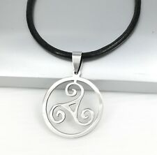 Silver Triskelion Triskele Spiral Celtic Pendant Black Leather Choker Necklace