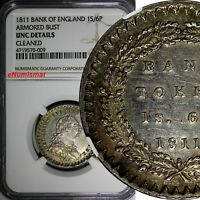 Great Britain George III Silver 1811 1 Shilling 6 Pence NGC UNC DETAILS KM# Tn2