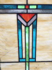 """Antique Arts & Crafts Stained Leaded Glass Window 25"""" by 18"""" Circa 1915"""