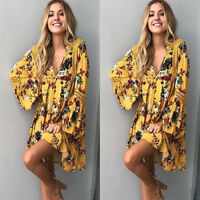 Women Bohemian Dress Casual Floral Embroidered Long Sleeve Mini Beach Loose Fit