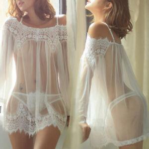 Womens Sexy Mesh See Through Thong Lace Up Nightdress Pajamas Dress Sleepwear