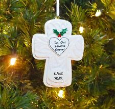 In Our Hearts Forever With Mistletoe - Cross Personalized Christmas Ornament