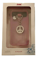 iwave Pink Silicone Cell Phone Case with Peace Charm in Swarovski iPhone 4G