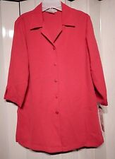 NEW SHARON YOUNG BERRY PINK BIG SHIRT ELBOW SLEEVE BUTTON FRONT SZ 6 NICE