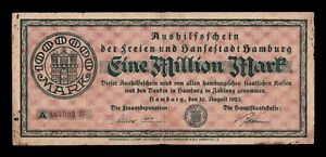 B-D-M Alemania Germany Notgeld Hamburgo 1000000 Mark 1923 BC F