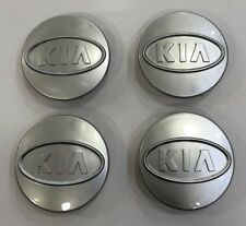 4x KIA 58mm ALLOY WHEEL CENTER CAPS FOR KIA SILVER BADGE