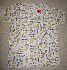 Scrub Top Flowers, Sun, Rainbows, I Love You, Shirt Scrubs Size Small Uniform