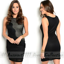 Little Black Dress Sleeveless Net Mesh Sexy Mini Formal Office Party Bodycon