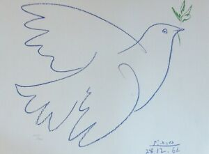 PABLO PICASSO COLOMBE BLEUE SIGNED HAND NUMBERED 225/1000 LITHOGRAPH BLUE DOVE