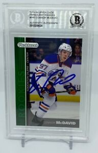 Connor McDavid Autographed 2015 Upper Deck Parkhurst Hockey Rookie Card BAS BGS
