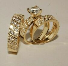 Round Cut Diamond Wedding Band Engagement Ring Trio Set 18K Yellow Gold Over