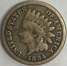 1864 Indian Head Cent Copper Nickel Cleaned GOOD DETAILS