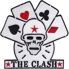 More details for official licensed - the clash - skull and cards sew-on patch rock punk