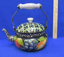 Metal Teapot Lid Hand Paint Decor Fruit Black White Dots Plastic Handle Signed