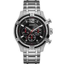 Guess Reloj para Hombre Plata Negro-Impresionante Regalo Presente Navidad Cumpleaños W0968G1