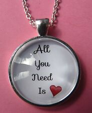 All You Need is Love Beatles Silver Pendant Necklace New in Gift Bag Valentines