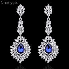 Elegant Crystal Blue Long Chandelier Drop Party Bridal Wedding Earrings