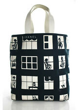 CHANEL Black White Canvas Coco Window Store Front Double Handle Tote Handbag