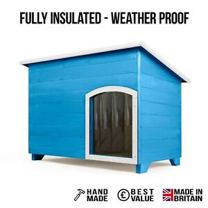 Outdoor Dog Kennel / House Winter Weather Proof Insulated - XL - Cornflower