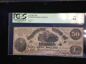 1861 $50 CONFEDERATE BANKNOTE PCGS NEW 62