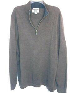 Joseph Abboud Mens 100% Merino Wool Size 2XLT Brown 1/4 Zip Mock Turtleneck LS