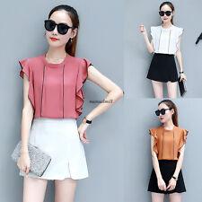 Fashion Korean Women Career Chiffon Loose Vest Summer Blouse Top Shirt Green XL