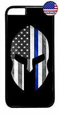 Thin Blue Line Flag Spartan Police Case Cover For iPhone 7 6 6s Plus 5 5s 5c 4s