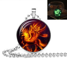 GLOW IN THE DARK FIRE UNICORN PHOENIX LARGE PENDANT NECKLACE Jewellery Gift Idea