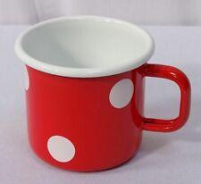 Emaille Tasse, Henkelbecher, Henkeltopf, Kaffeetasse Tupfen Rot Weiß 8 cm