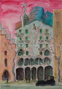 Llop - litografía Barcelona modernista 'Casa Batlló', numerada y firmada