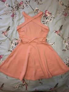 Oh My Love Pink Coral Salmon Cross Back Backless Mini Skater Dress Size S