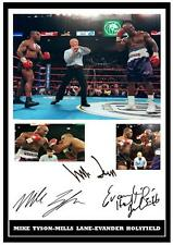 109.  MIKE TYSON-MILLS LANE-EVANDER HOLYFIELD  SIGNED   PHOTOGRAPH REPRINT