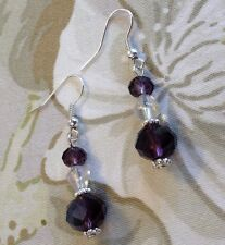 Pretty Amethyst Purple Crystal Rondelle Beads Dangle Pierced Earrings Wedding