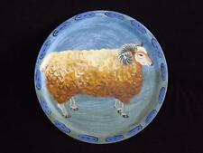 Braeland Handpainted Folk Art Sheep Wood Plate Charger L'Assiette Un Belier
