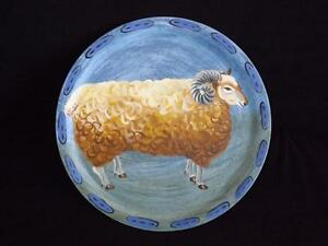 Braeland Sheep Handpainted Wood Plate Charger L'Assiette Un Belier