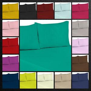 Top Quality Polycotton Flat Sheets Single Double King Super King Size Pillowcase