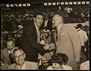 1949 Vintage Photo Boxing Legend Rocky Marciano + Maple Leafs Owner Conn Smythe