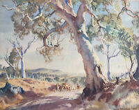 "Hans Heysen -  Canvas Print  ""Drawn Landscape 1944""  Framed & Ready to Hang"