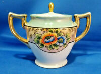 Vintage Large Lusterware Covered Sugar Bowl with Flowers Made in JAPAN