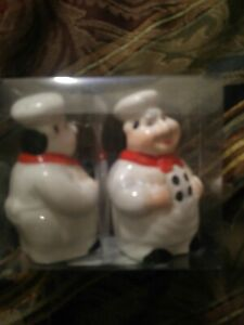 Fat Chef Kitchen Salt and Pepper Shakers Brand New