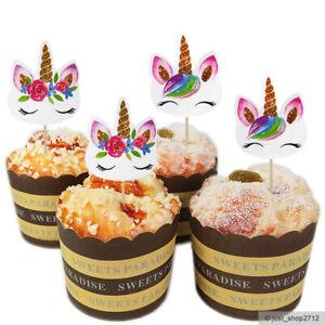 24 Einhorn Unicorn Topper Cupcake Kinder Geburtstag Muffin Kuchen