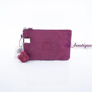 NWT Kipling AC8641 VIV Cosmetic Accessory Pouch Rainbow Zip Nylon Stone Purple